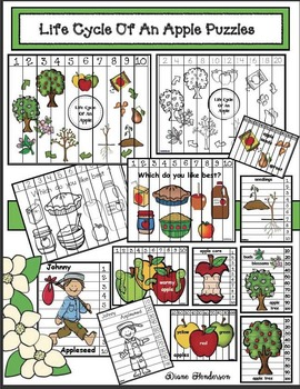 Apple Activities: Life Cycle Of An Apple Number Puzzles