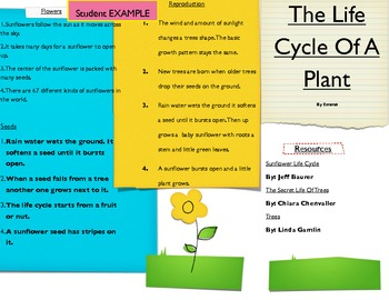 Life Cycle Plants and Trees Brochure, Research and Report Writing Skills