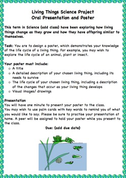Life Cycle Poster Presentation Assignment & Marking Rubric