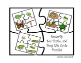 Simple Butterfly, Sea Turtle, and Frog Life Cycle Puzzles