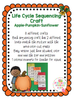 Life Cycle Sequencing Crafts- Pumpkin-Apple-Sunflower