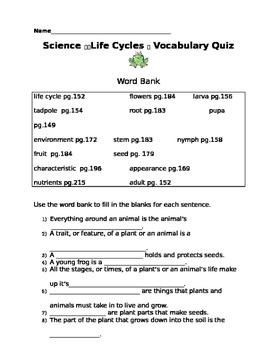 Life Cycle Vocabulary Quiz