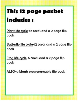 Life Cycle flipbooks and cards