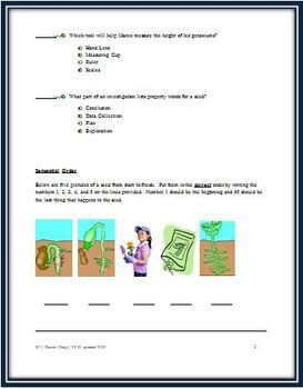 EDITABLE Life Cycle of Plants/Seeds Science Test