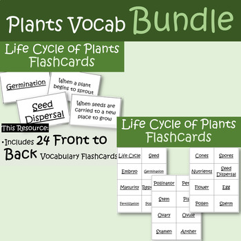 Life Cycle of Plants Vocabulary Bundle- Flashcards and Assessments