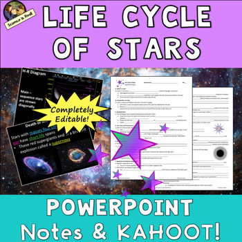 Life Cycle of Stars PowerPoint, Student Notes, and Kahoot!