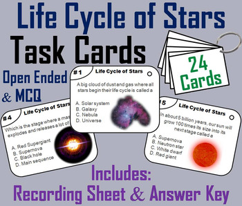 Life Cycle of Stars Task Cards