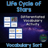 Life Cycle of Stars Vocabulary Sort