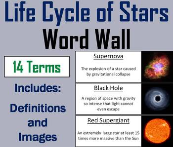 Life Cycle of Stars Word Wall Cards