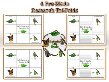 Life Cycle of a Butterfly Research Tri-Folds and Graphic Organizers