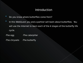 Life Cycle of a Butterfly- Webquest