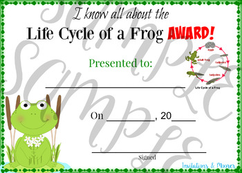 Life Cycle of a Frog Award 5X7