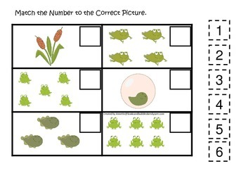 Life Cycle of a Frog Match the Number preschool biology printable learning ga
