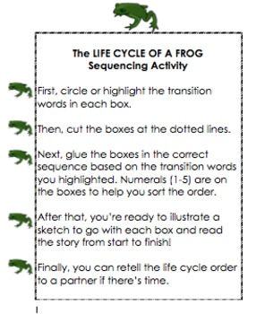 Life Cycle of a Frog: Sequencing Activity