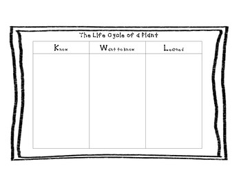 Life Cycle of a Plant KWL Chart