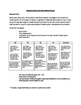 Life Cycle of a Plant Writing Prompt & Rubric