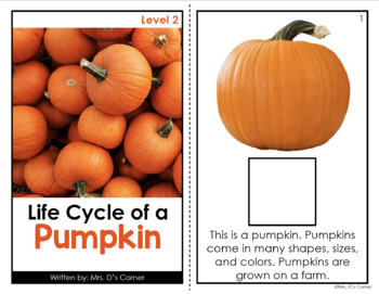 Life Cycle of a Pumpkin Adapted Book [ Level 1 and 2 ] | Pumpkin Life Cycle Book