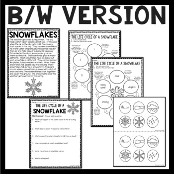 Life Cycle of a Snowflake Reading Comprehension Worksheet and Cut and Paste