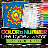 Life Cycle of a Star Color by Number - Science Color By Number