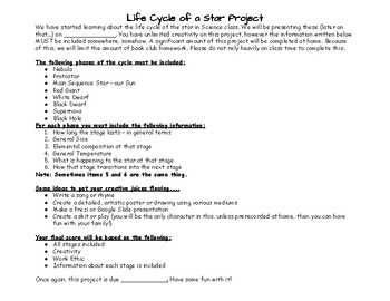 Life Cycle of a Star Project and Rubric