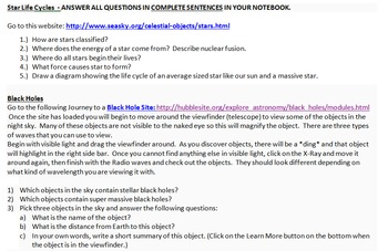Life Cycle of a Star and Journey to a Black Hole WebQuest