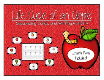 Life Cycle of an Apple Sequencing Cards, Writing Activity, and Lesson Plans