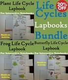 Interactive Notebooks Bundle: Frog, Butterfly and Plant Life Cycles Activities