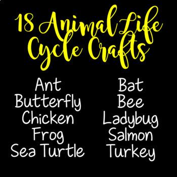 Animal Life Cycle Activities BUNDLE (Animal Life Cycle Crafts)