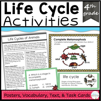 Animal Life Cycles Vocabulary, Task Cards, and Text
