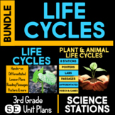 Life Cycles 5E Unit AND Science Station BUNDLE for Third Grade