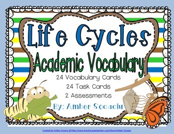 Life Cycles Academic Vocabulary Workbook, Task Cards and A