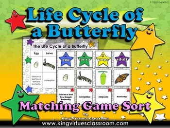 Life Cycles: Butterfly Matching Game Sort - Monarch - egg,