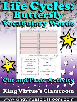 Life Cycles: Butterfly Vocabulary Words Cut and Paste Activity - Butterflies