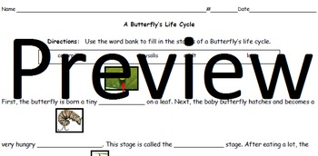 Life Cycles Fill in the Blank Printables