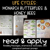 Life Cycles: Monarch Butterflies and Honey Bees Reading Passages and Activities