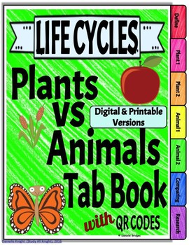Life Cycles: Plants vs. Animals Digital and Printable w/links & QR codes