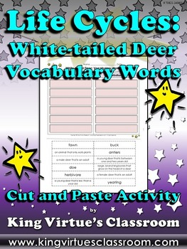 Life Cycles: White-tailed Deer Vocabulary Words Cut and Pa