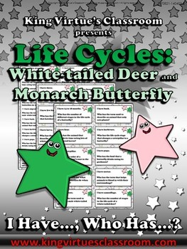 Life Cycles: White-tailed Deer and Monarch Butterfly I Have... Who Has...? Game