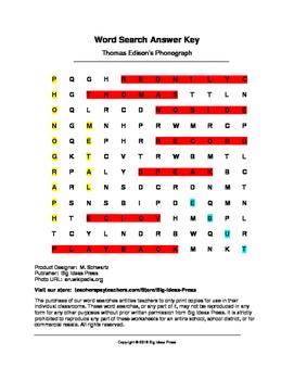 Thomas Edison's Phonograph Word Search (Grades 3-5)