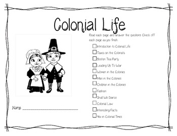 Life During Colonial Times History Booklet Social Studies Colonies 3.H.1.1