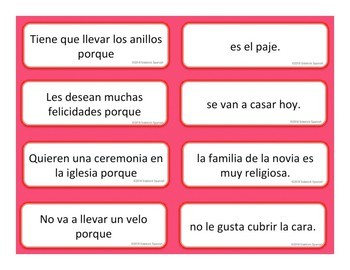 Life Events Spanish Vocabulary Sentence Building: Because