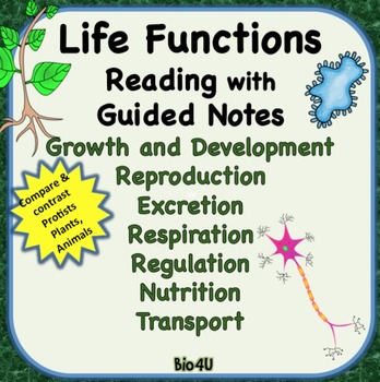 Life Functions Reading with Guided Notes