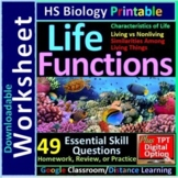 Life Functions and Characteristics of Life - Homework and Review Worksheet #1