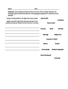Life In A Day Introduction Handout