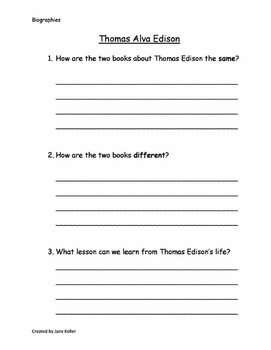 Life Lessons Common Core Curriculum Maps 1st Grade Weekly Plan: Biographies