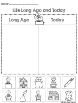 Life Long Ago and Today Printable Sort