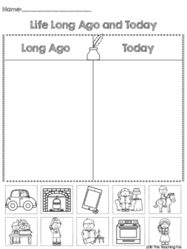 Life Long Ago and Today Printable Sort