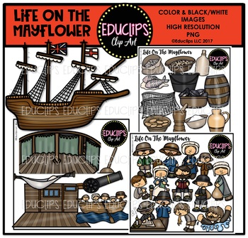Life On The Mayflower Clip Art Bundle {Educlips Clipart}