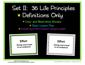 Life Principle Posters with Definitions Set 2