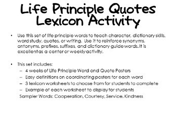 Life Principle Word Study Lexicon Activity Through the Year FREE SAMPLER